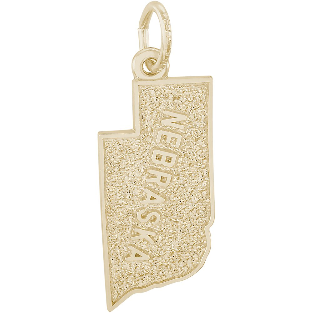 Rembrandt Charms 14K Yellow Gold Nebraska Charm (0.42 x 0.75 inches)