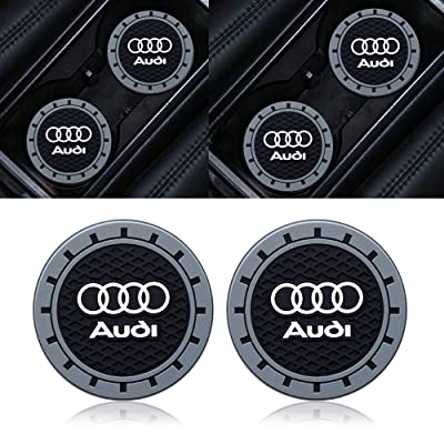 Goshion 2pcs 2.75 Inch Diameter Oval Tough Car Logo Vehicle Travel Auto Cup Holder Insert Coaster for Audi All Models: Automotive