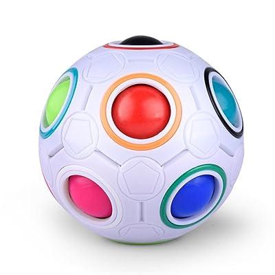 Puzzle boule magique arc-en-ciel créatif, Morbuy cube magique en plastique arc-en-ball tordu jouets éducatifs pour enfants le stress des adultes adolescents releveur.