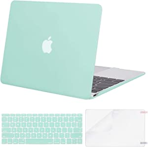 MOSISO Plastic Hard Shell Case & Keyboard Cover Skin & Screen Protector Compatible with MacBook 12 inch with Retina Display (Model A1534, Release 2017 2016 2015), Mint Green