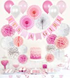 Baby Shower Decorations for Girl, Stylish Its a Girl Party Decor, Complete Kit for Girls Baby Shower