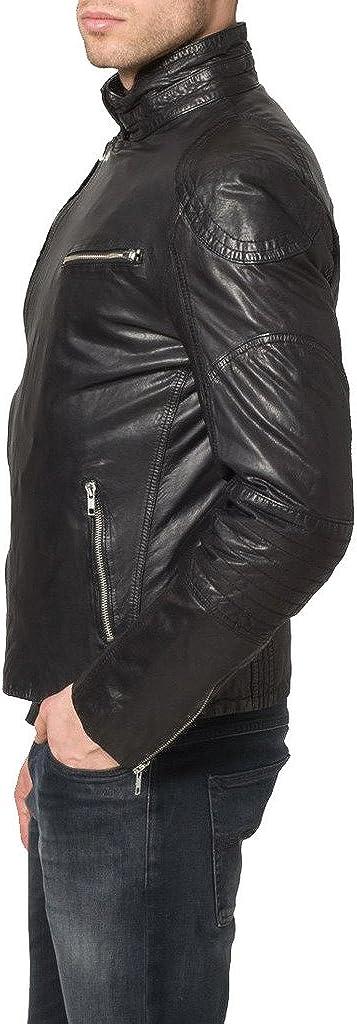 Mens Genuine Cow Leather Jacket Slim Fit Motorcycle Jacket LTC159
