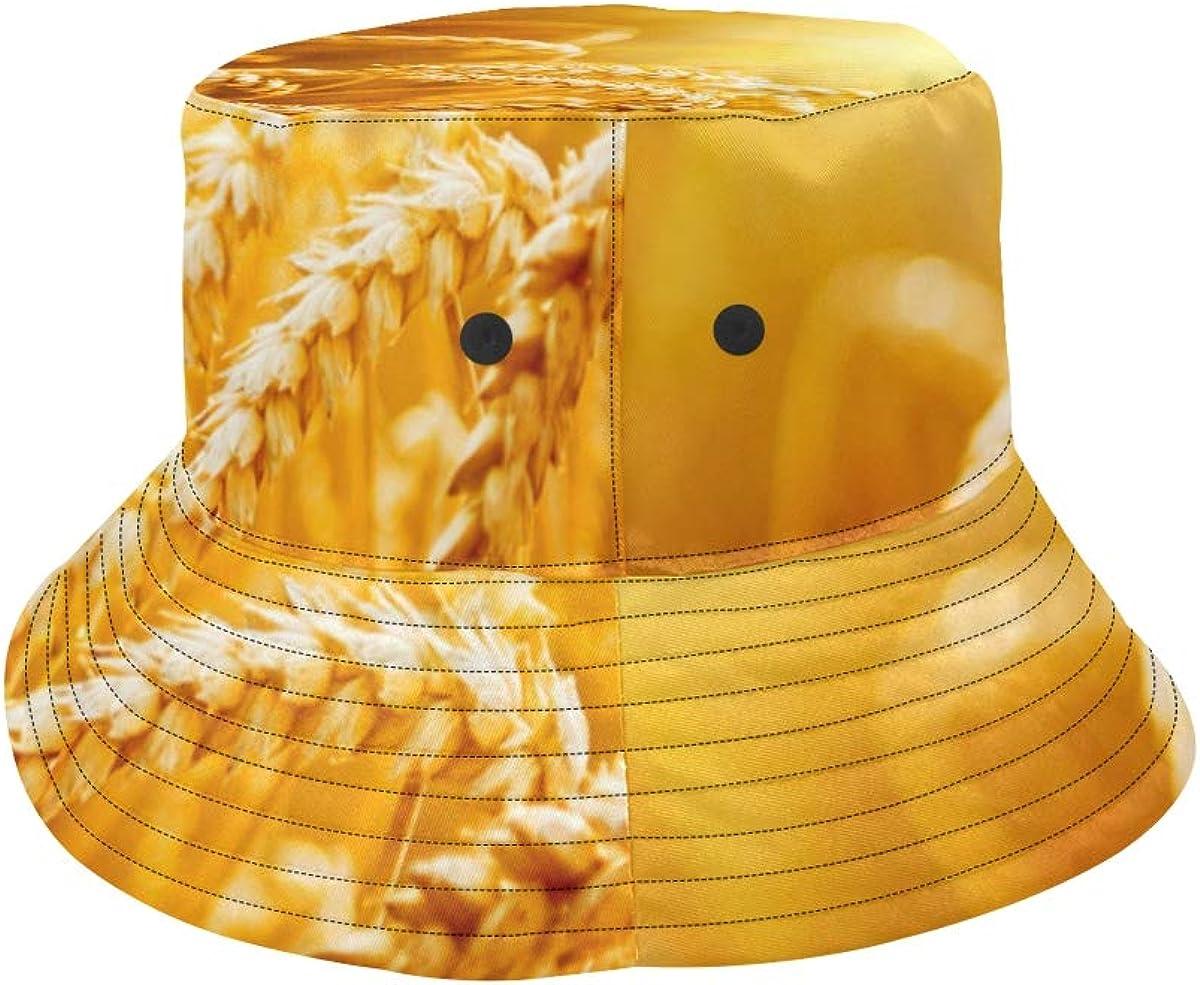 Golden Wheat Field Summer Unisex Fishing Sun Top Bucket Hats for Kid Teens Women and Men with Packable Fisherman Cap for Outdoor Baseball Sport Picnic