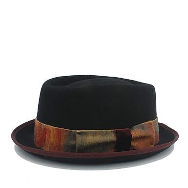 906745aa2f67e Australia Wool Women Men Felt Fedora Pork Pie Hat Cashmere Flat Homburg  Godfather Top Cap with