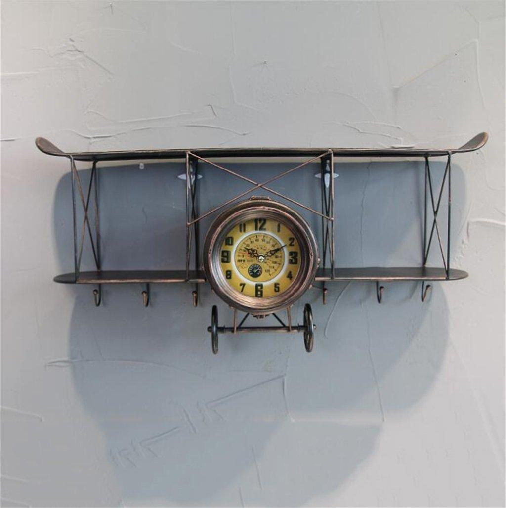 BZEI-掛け時計 大規模な壁の時計鉄の航空機の設計、現代の静かなデジタルウォールクロッククリエイティブバー/カフェ/リビングルームの壁の装飾時計アンティークビンテージレトロスタイルのストレージシェルフ、単3形電池、L68 * D17.5 * H32cm ( 色 : ブロンズ ) B0798LV3N3ブロンズ