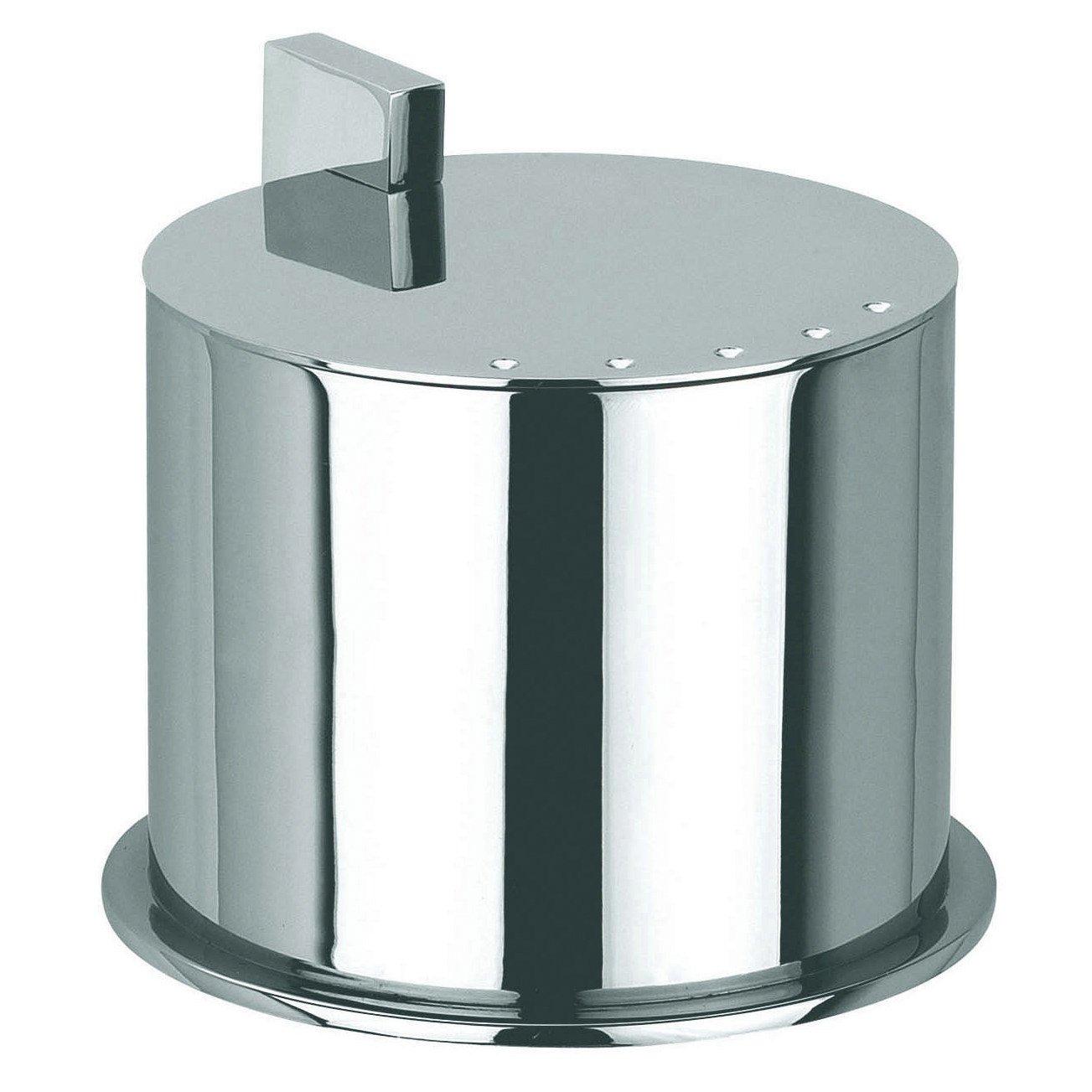 Ginger Kubic Solid Brass Vanity Jar No. 1, Medium Size, Polished Chrome