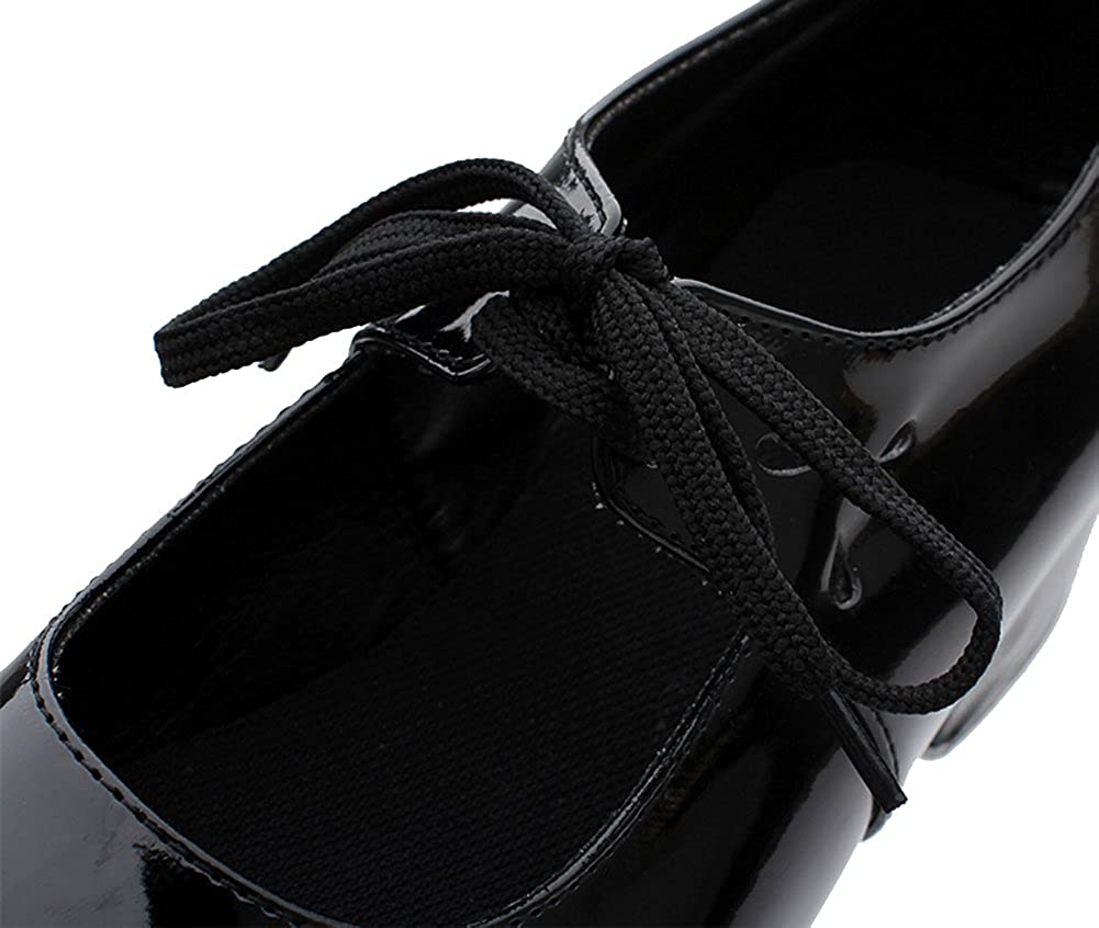 HW-GOODS Girls Black PU Lace up Low-Heeled Tap Shoes Dance Shoes Little Kid//Big Kid