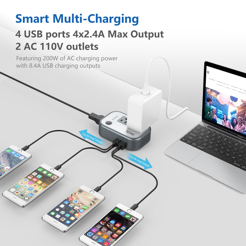 Foval Power Step Down 220v To 110v Voltage Converter Cords Australia Cord Plugs With Australian Saa 4 Port Usb International Travel Adapter For Uk European Etc Use Us Appliances