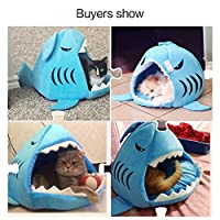 Pet Bed Mats, Han Shi Collapsible Indoor Pet Dog Cat Shark House Bed Shelter Cozy Nest Mat Pad