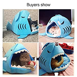 Pet Bed Mats, Han Shi Collapsible Indoor Pet Dog Cat Shark House Bed Shelter Cozy Nest Mat Pad