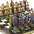 """Crusade Chessmen & Mancini Chess Board from Italy Extra Large, King: 6 7/8""""."""