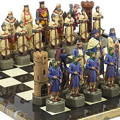 "Crusade Chessmen & Mancini Chess Board from Italy Extra Large, King: 6 7/8""."