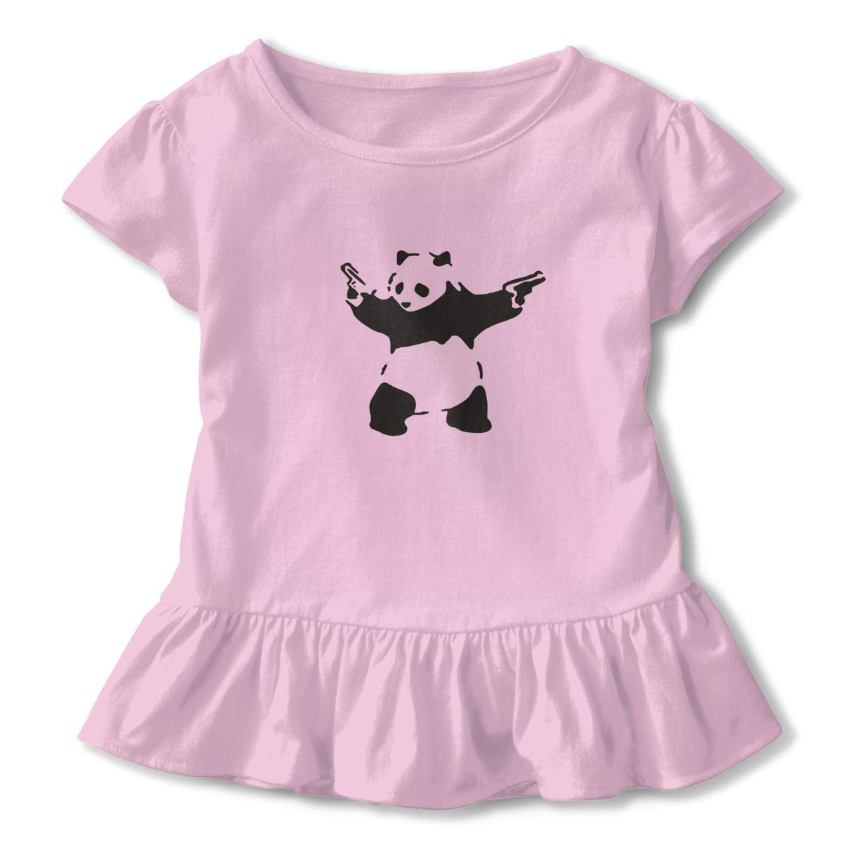 Panda with Guns Breathable Sweat-Absorbing Cotton Tee T-Shirts Shirts with Round Neck and Ruffles Casual Top for Toddlers Baby Girls Children Pink