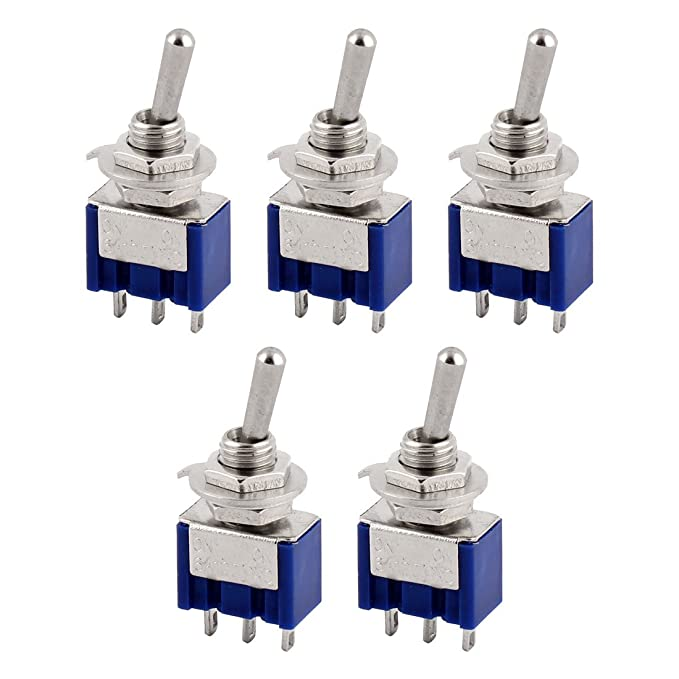 uxcell 5 Pcs AC 125V 6A 3 Terminals Latching SPDT On//On Toggle Switch Blue