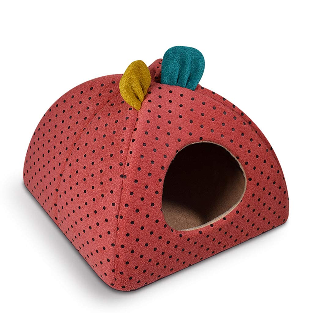 RED 43x43×34cm RED 43x43×34cm Pet Mat, Large Dog Kennel Cat House Removable and Washable Pet Nest Wear-Resistant Bite Pet Bed Pet Supplies (color   RED, Size   43x43×34cm)