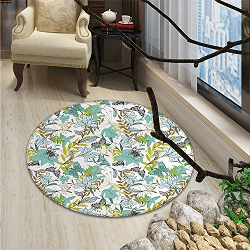 Floral Round Rugs for Bedroom Flying Birds Butterflies Floral Elements Art Wildflowers NatureOriental Floor and Carpets Seafoam Yellow Green Caramel ()