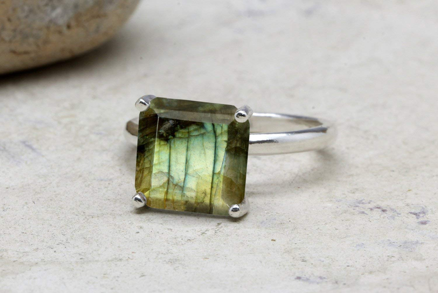Labradorite ring, square gemstone ring, bridal ring, silver ring, sterling ring, solitaire rings, cocktail ring, stackable ring