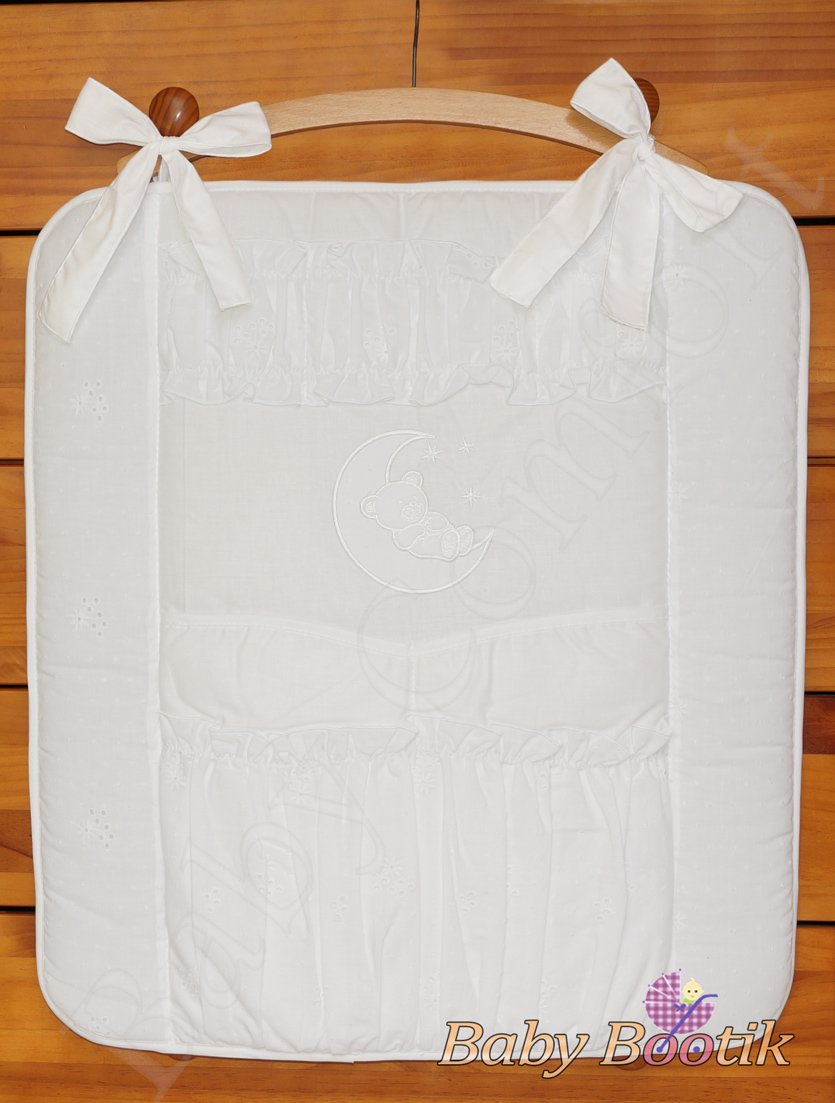 Nursery Baby Cot Tidy Organiser for Cot or Cot Bed BEAR MOON - WHITE Babycomfort