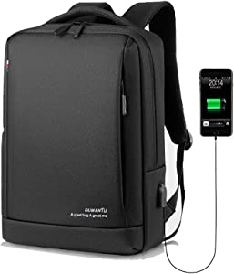 Slim Laptop Backpack Business Travel Durable Laptops Backpack with USB Charging Port College School Computer Bag for Women & Men Fits 15.6 Inch Laptop and Notebook Black