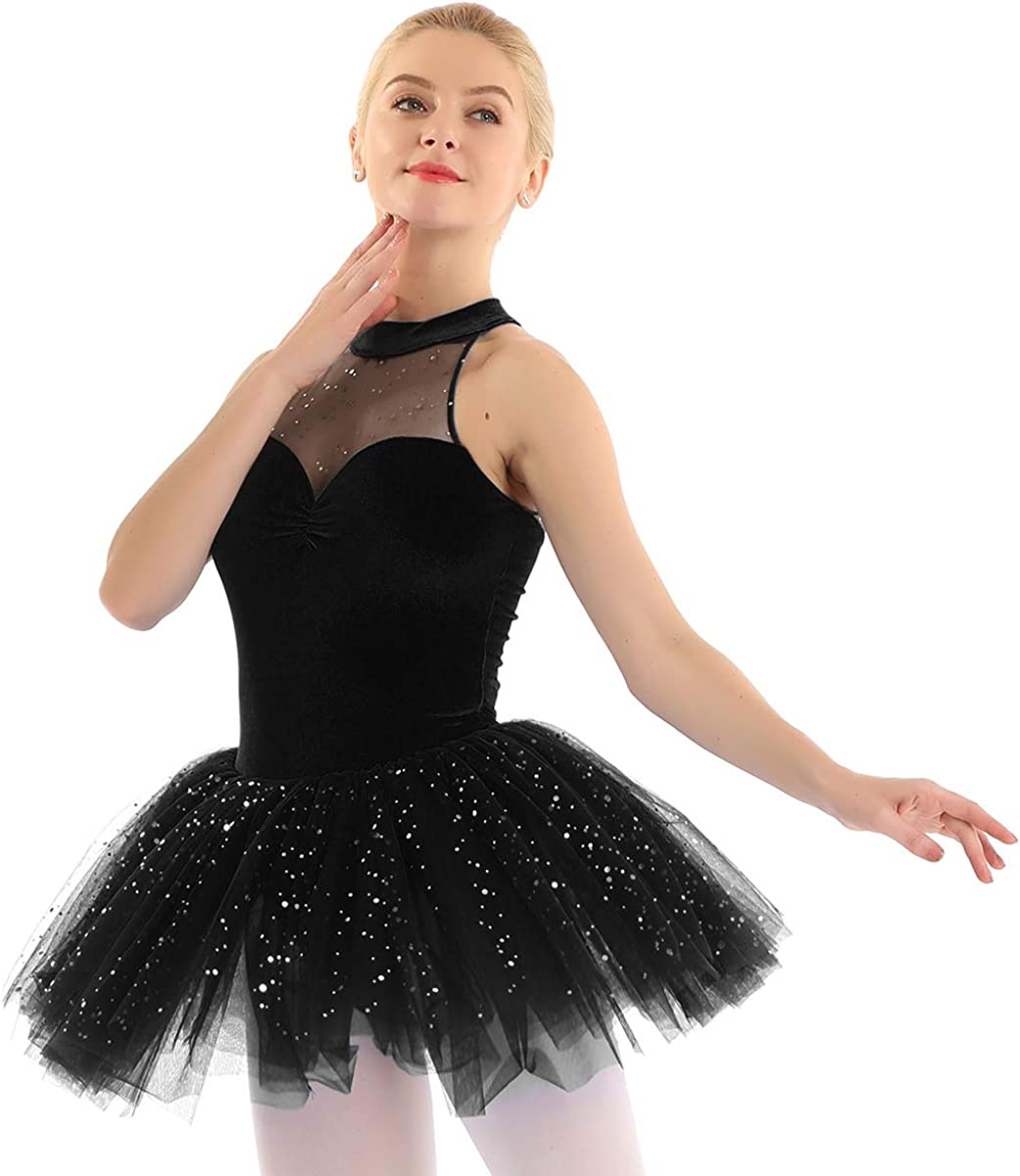 Freebily Velluto Vestito da Danza Balletto Body Tutu Danza Classica Donna Strass Maglia Vestito da Ballo Latino Donna Glitter Vestito Pattinaggio Artistico Ragazza