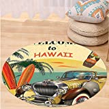 VROSELV Custom carpet1960s Decor Welcome to Hawaii Retro American Pop Art Print with Aged Car Palms Tribal Mask and Surfboards Bedroom Living Room Dorm Decor Multi Round 72 inches
