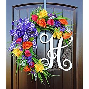 Monogram Letter Wreath for Front Door in 22 inch Diameter with Spring and Summer Flowers in Yellow, Purple, Red and Orange With or Without Matching Bow 41