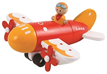 lelin children kids magnetic wooden airplane toy model play set