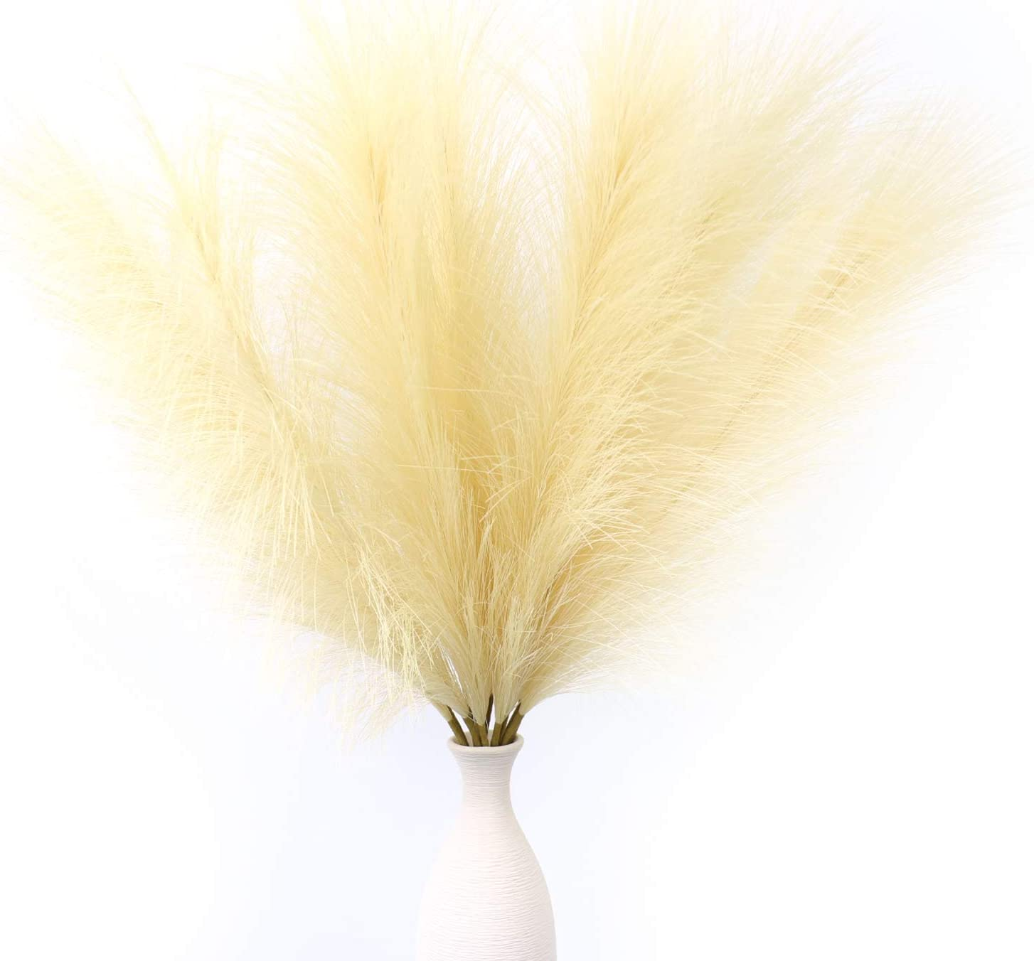 "12 PCS Artificial Pampas Grass,24"" Faux Reed Plumes for Home Wedding Decor Flower Arrangement and Vase Fillings"