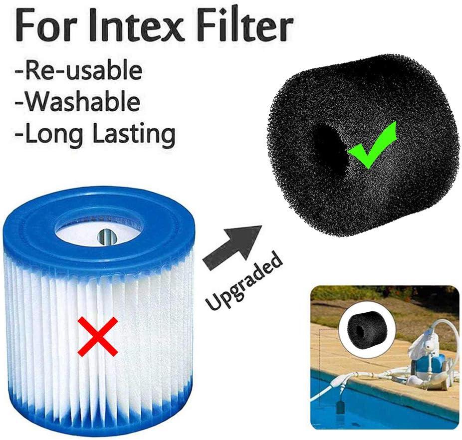 Lifreer 4 Pack Black Swimming Pool Filter Sponge Reusable Washable Replacement Foam Sponge Cartridge Filter Sponge for S1 Type