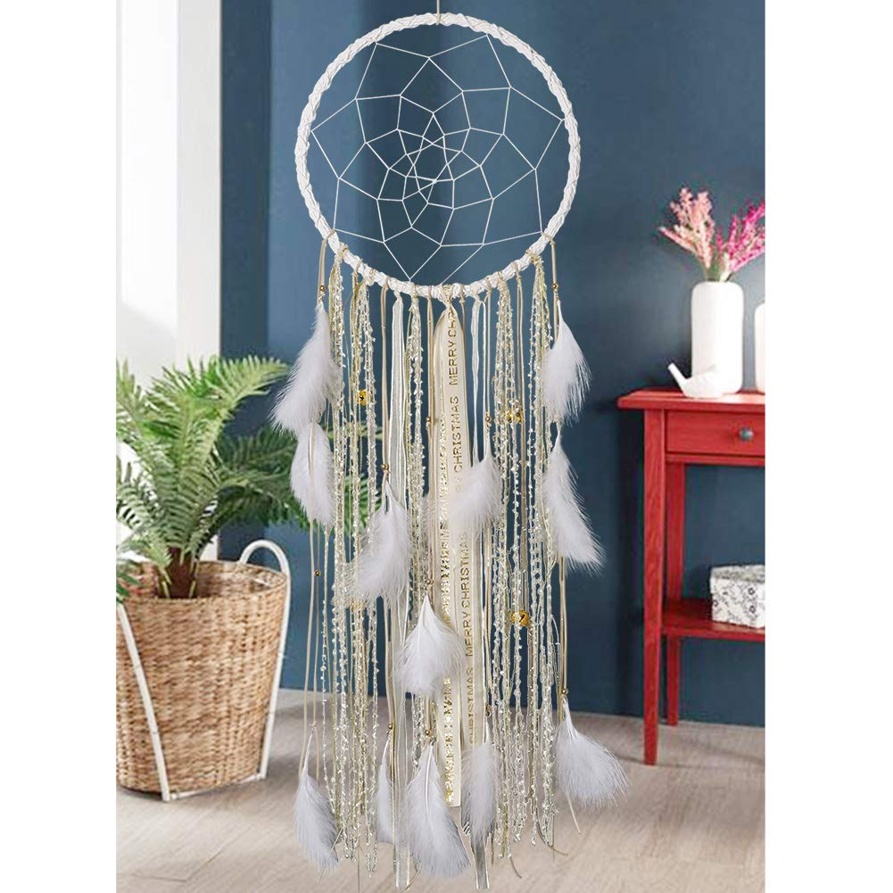 Extra Large Dream Catcher Kids Wall Hanging Decoration Handmade White Feather Boho Big Dreamcatchers with Bells Wedding Dream Catchers Bedroom Craft Ornament Gift (Dia 12'', Length 41'') (Extra Large)