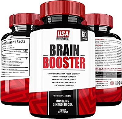 Brain Booster | Focus Your Mind | Energy, Memory & Brain Fog Pills with Ginkgo Biloba Nootropics Vitamins by USA Supplements