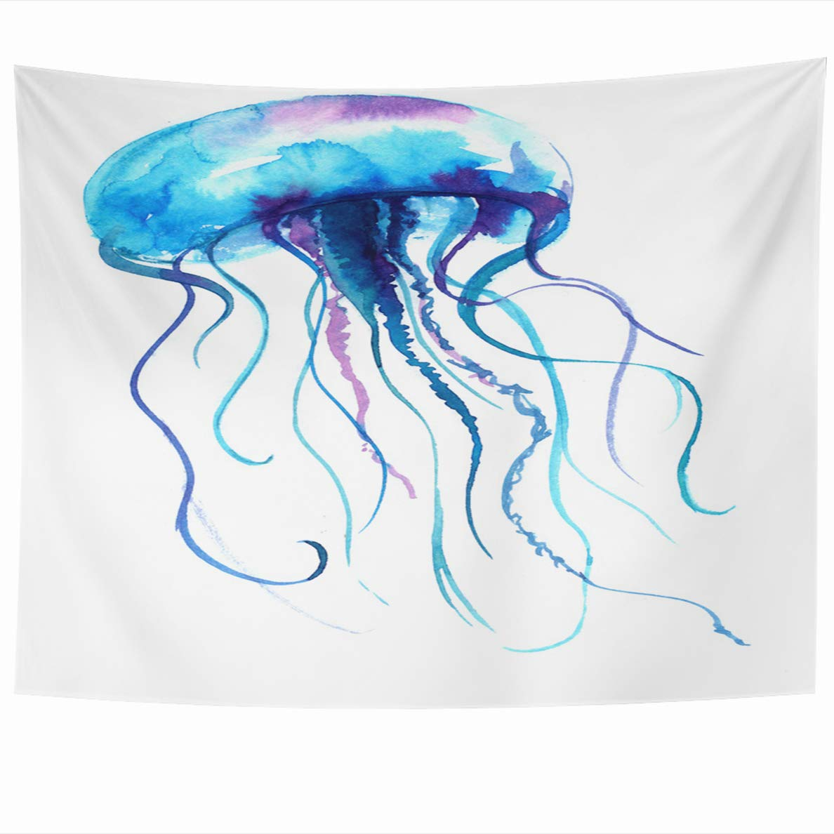 e1ffce7ab Ahawoso Tapestry 60x50 Inches Blue Watercolour Jellyfish Watercolor Medusa  Painting White Tattoo Design Jelly Fish Purple Sea Wall Hanging Home Decor  ...
