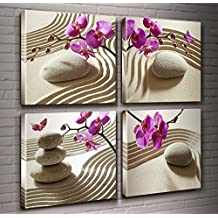Canvas Wall Art-Leisure Zen Relaxation Spa Massage Treatment Theme Prints 4 Piece Elegant Purple Phalaenopsis Orchids Decor Giclee Artwork Massage Stone Modern Artwork Sand Road Pictures Ready to Hang