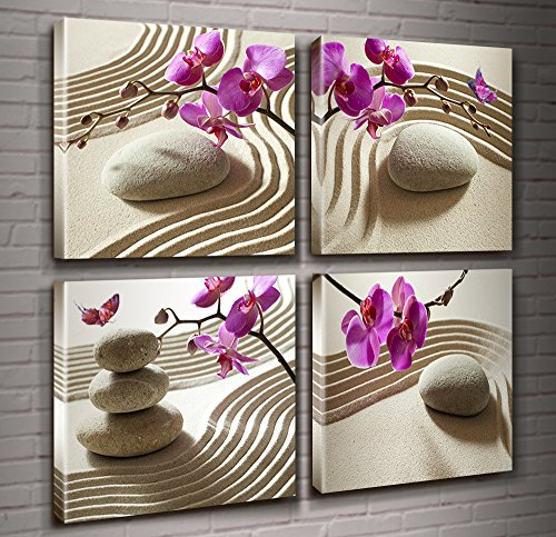 Canvas Print Wall Art-Butterfly Orchids Painting Zen Spa Purple Phalaenopsis Flowers On White Balance Stones 4 Panel Paintings Modern Artwork For Living Room Decoration Flower Home Decor (Flower Spa)