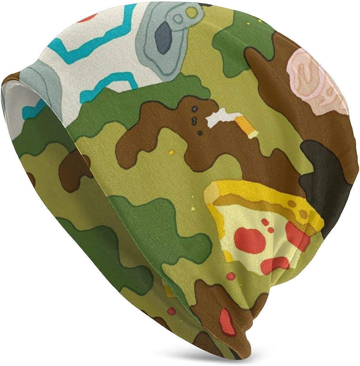 Mens Womens Knit Beanies Hats Pizza Camo Junk Food Adult Warm Winter Caps