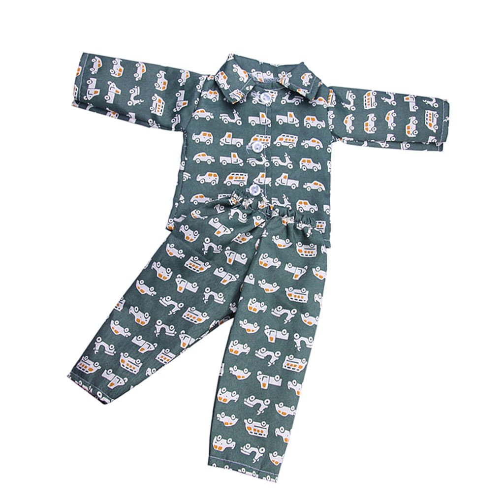 MonkeyJack 18'' Dolls Pajamas Dark Green & Vehicle Print Top & Pants Set for American Girl Logan Boy Doll Accessories