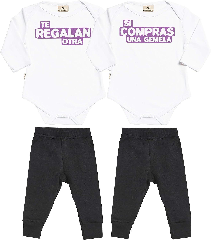 Spoilt Rotten SR - Si Compras una Gemela & te regalan Otra - Conjunto Gemelo - Regalo para bebé - Azul Body para bebés & Negro Pantalones para bebé - Ropa Conjuntos para bebé