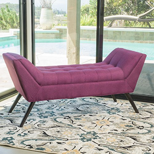 Christopher Knight Home 298380 Living Burdett Tufted Fabric Ottoman Bench Purple , Deep
