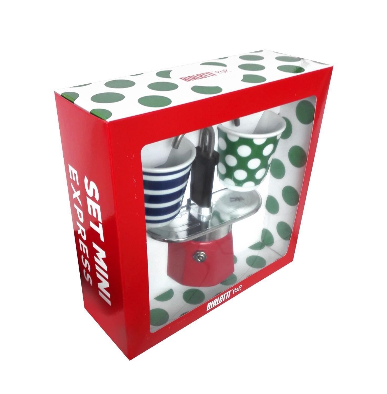 Bialetti - Mini Express Espresso Maker 2 Cup Red & 2 Bicchierini Pop Coffee Cups 0005750