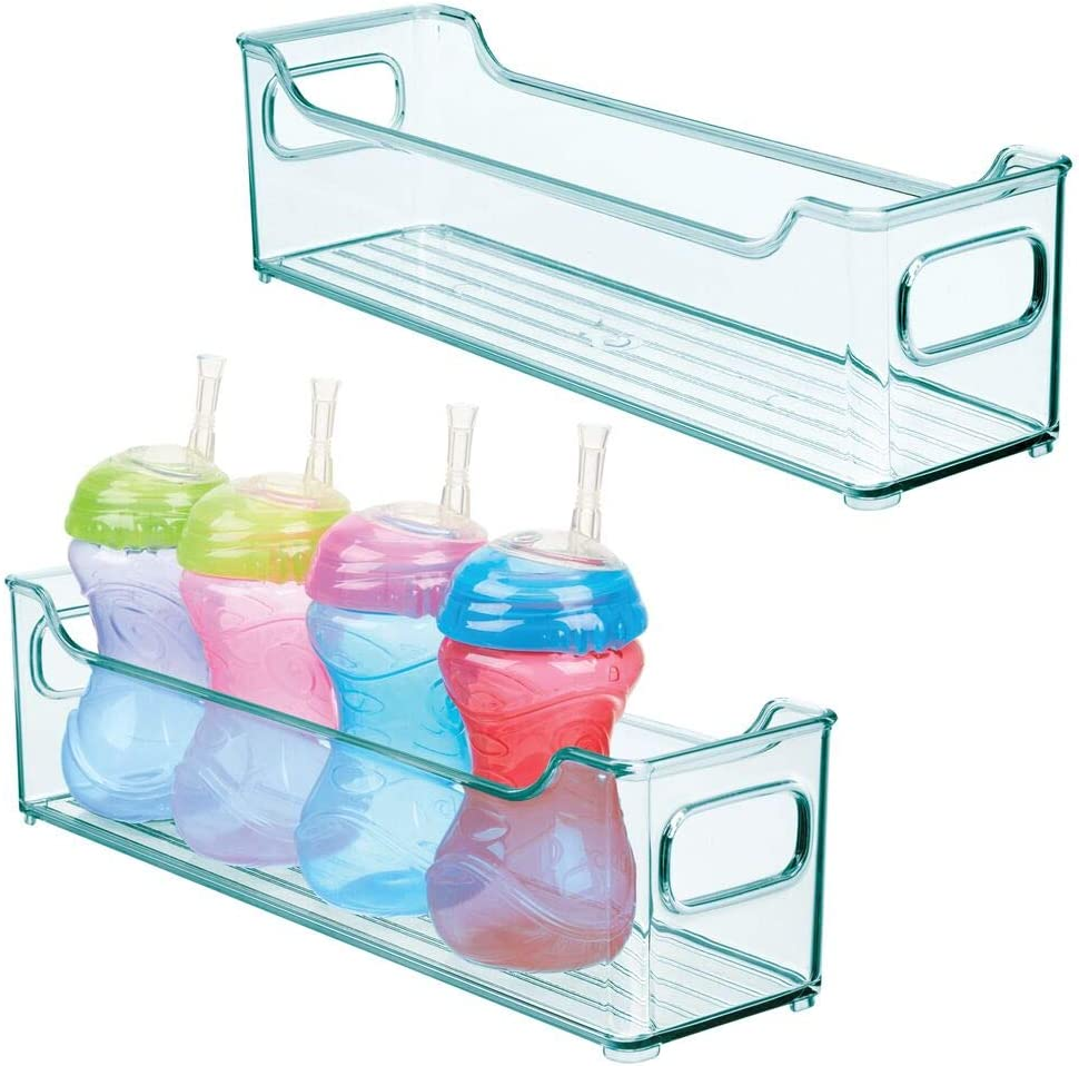 mDesign Storage Organizer Container Bin with Handles for Kids/Child Supplies in Kitchen, Pantry, Nursery, Bedroom, Playroom - Holds Snacks, Bottles, Baby Food - BPA Free, 14.5