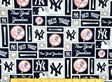 new york yankee cotton fabric - New York Yankees Fabric Pre-cut 1.5 Yard Pieces 54