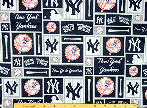New York Yankees Fabric MLB Baseball Fabric in Navy Blue 58