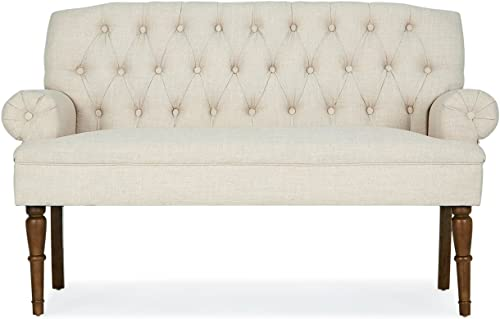 BELLEZE Button Tufted Mid-Century Settee Upholstered Vintage Sofa Bench