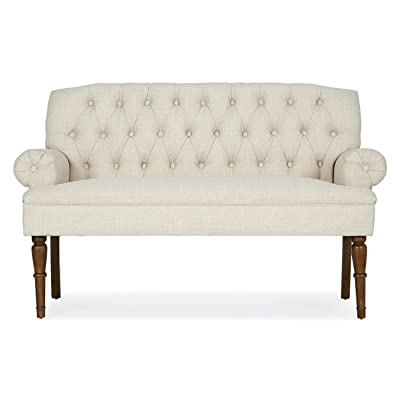 """GHP Home Beige 28"""" Lx54.25 Wx36 H Durable High Back Vintage Tufted Sofa Bench/Loveseat"""