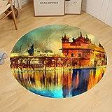 Gzhihine Custom round floor mat Golden Temple at Amritsar India - Oil Painting