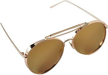 15af5807cdc8 Eye world glasses. Aviator Sunglasses Thick Gold Frame Gold Mirror Lens 59mm