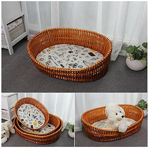 Colored Luxury Crate Mat - Weiwei Dog Bed Washable Kennel Rattan Dog House cat cage Willow Pet Nest Size Type 70x50cm