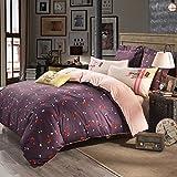 CASA Cotton Fox Duvet Cover & Flat sheet & Pillow Case,Super Soft,Duvet cover set,4 Piece,King Size