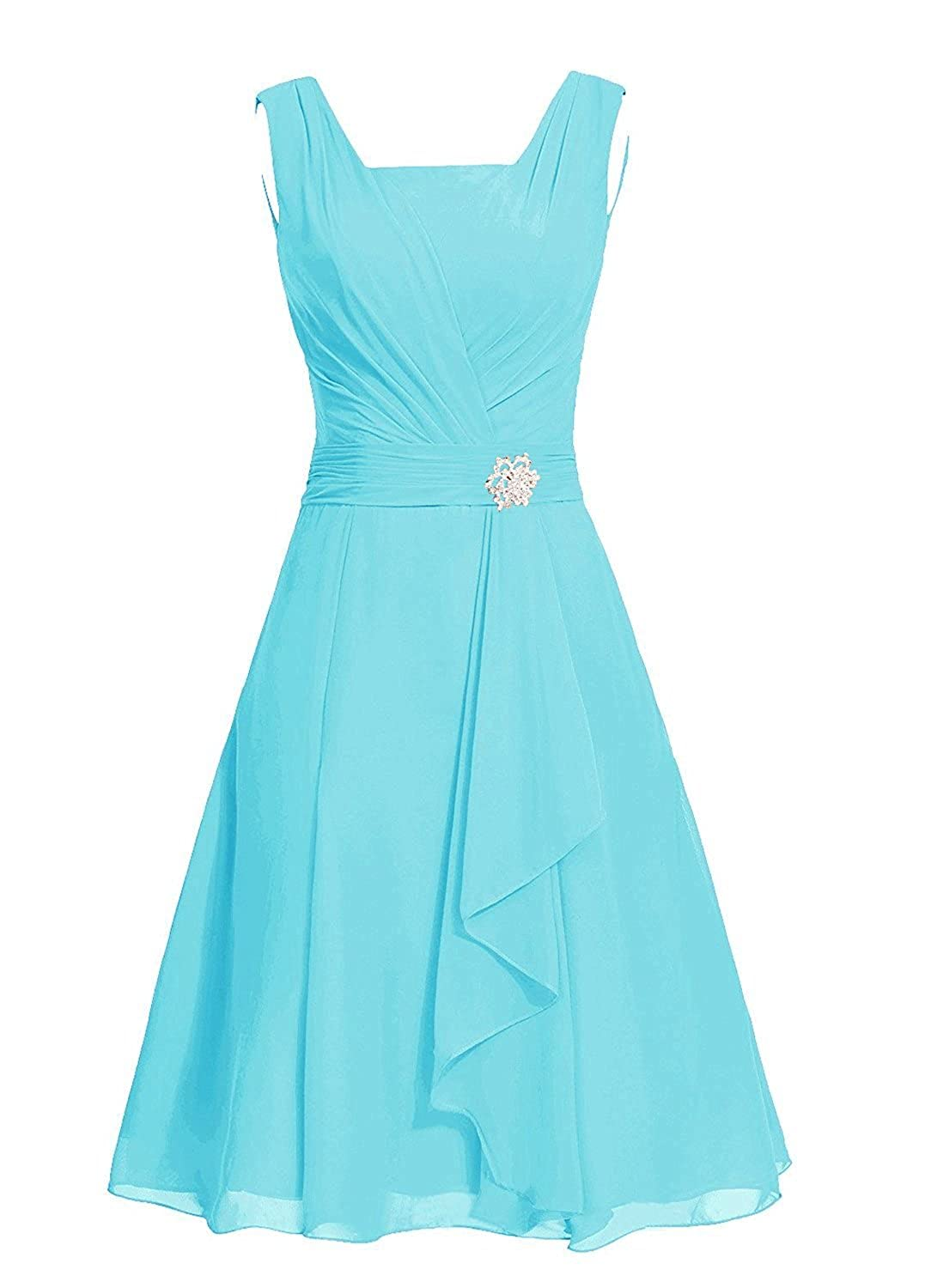 CaliaDress Women A Line Short Chiffon Bridesmaid Dress Prom Gowns C290LF