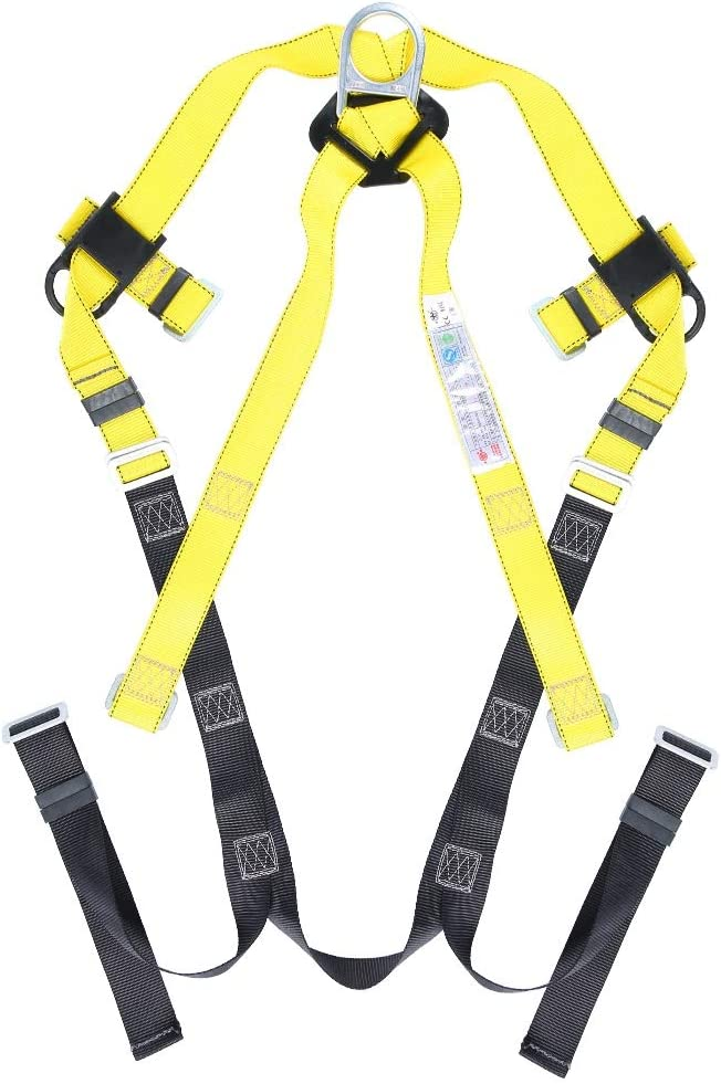 Universal Full Body Fall Arrest 5 Points Adjustable Safety Harness Kit with Webbing Shock Absorb Lanyard